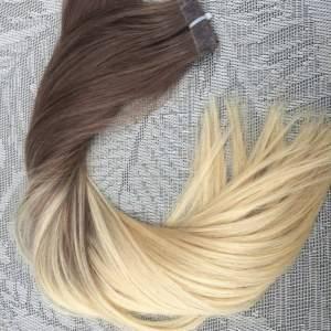 Mega Hair Fita Adesiva Cabelo Humano Liso Ombre Castanho Acinzentado com Loiro Claro