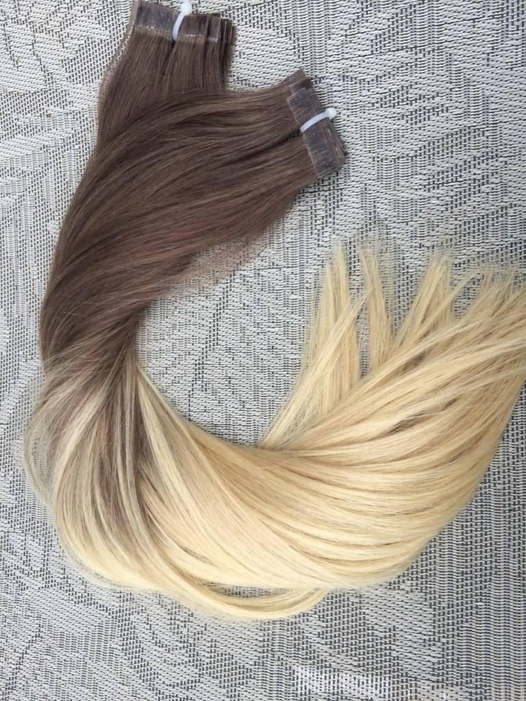 Mega Hair Fita Adesiva Cabelo Humano Liso Ombre Castanho Acinzentado com Loiro Claro 3