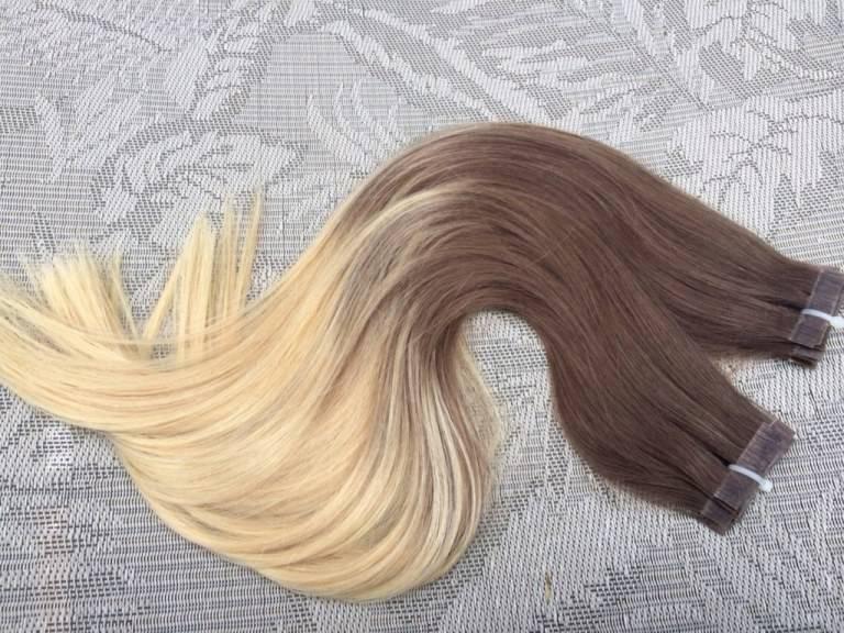 Mega Hair Fita Adesiva Cabelo Humano Liso Ombre Castanho Acinzentado com Loiro Claro 4