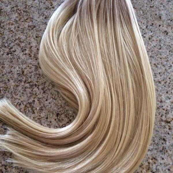 Mega Hair Fita Adesiva Cabelo Humano Ombre Loiro escuro acinzentado com Loiro Claro 3