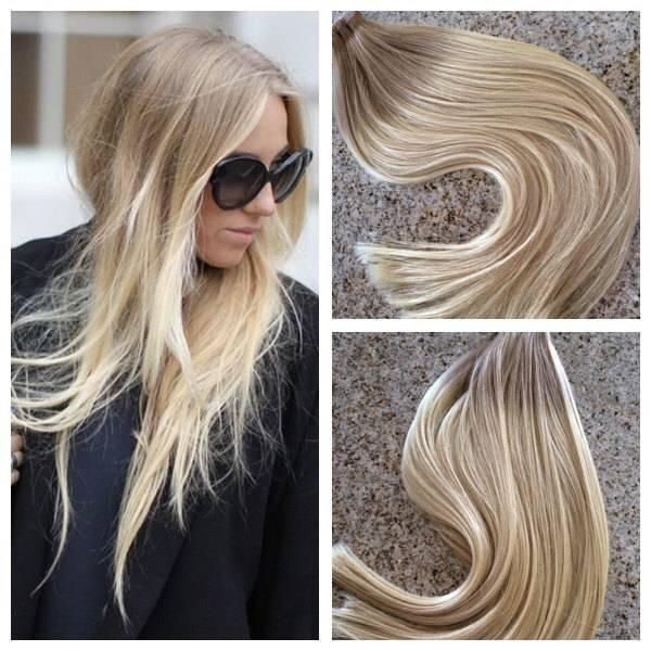 Mega Hair Fita Adesiva Cabelo Humano Ombre Loiro escuro acinzentado com Loiro Claro