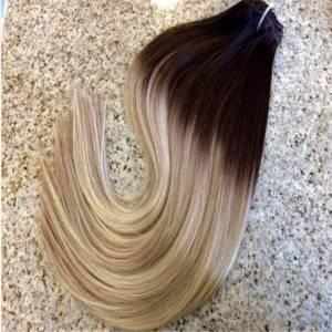 Mega Hair Tic Tac Cabelo Humano Ombre Castanho Médio e Loiro Claro #4/613