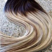 Mega Hair Tic Tac Cabelo Humano 140 Gramas Ombre Castanho Médio e Loiro Claro #4 613 4