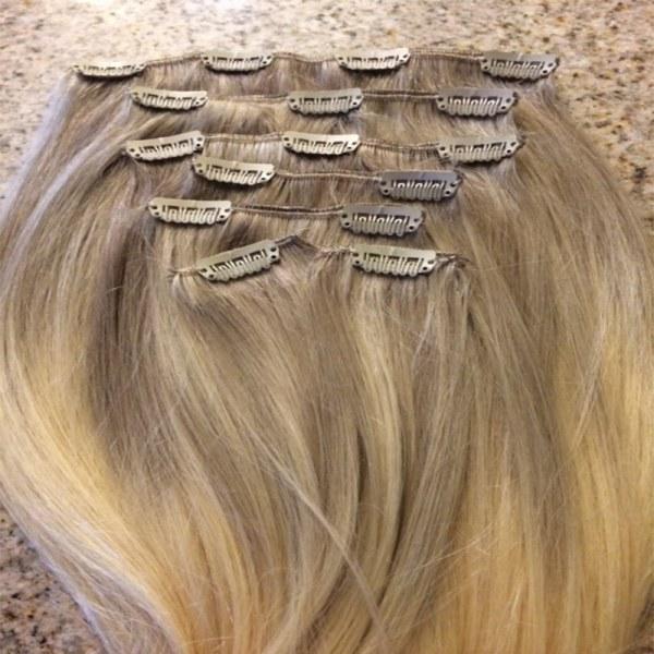 Mega Hair Tic Tac Cabelo Humano Ombre Loiro escuro acinzentado com Loiro Claro 2
