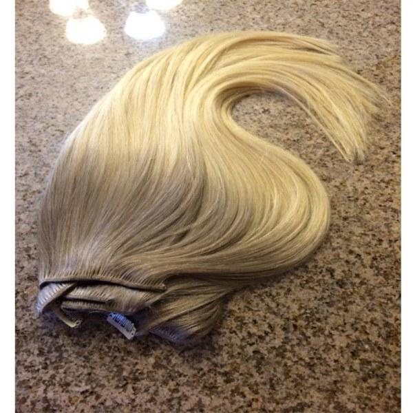 Mega Hair Tic Tac Cabelo Humano Ombre Loiro escuro acinzentado com Loiro Claro 3