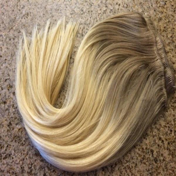 Mega Hair Tic Tac Cabelo Humano Ombre Loiro escuro acinzentado com Loiro Claro