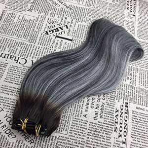 Mega Hair Tic Tac Liso Cabelo Humano Ombre Cinza 7 Peças