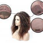 Peruca Lace Front crespo cacheado cabelo Sintético Castanho Médio com Ruivo Acobreado