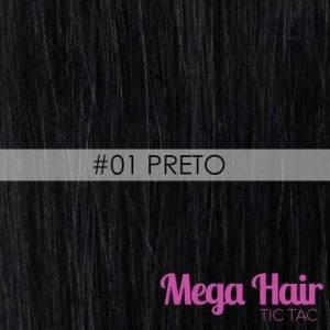 Mega Hair Tic Tac Cabelo Humano 7 peças Cor # 01 Preto