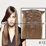 Mega Hair Tic Tac Cabelo Humano 7 peças Cor # 12 Castanho Claro Dourado