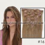 Mega Hair Tic Tac Cabelo Humano 7 peças Cor # 16 Castanho Amêndoa