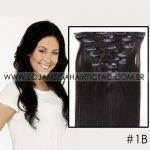 Mega Hair Tic Tac Cabelo Humano 7 peças Cor # 1B Preto Natural