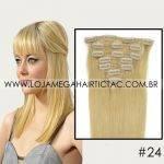 Mega Hair Tic Tac Cabelo Humano 7 peças Cor # 24 Loiro Dourado