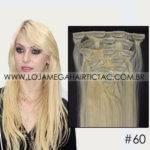 Mega Hair Tic Tac Cabelo Humano 7 peças Cor # 60 Loiro Platinado
