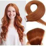 Mega Hair Fita Adesiva Cabelo Humano Cor # 30 Ruivo Claro Cobre