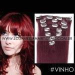 Mega Hair Tic Tac Cabelo Humano 7 peças Cor #Vinho