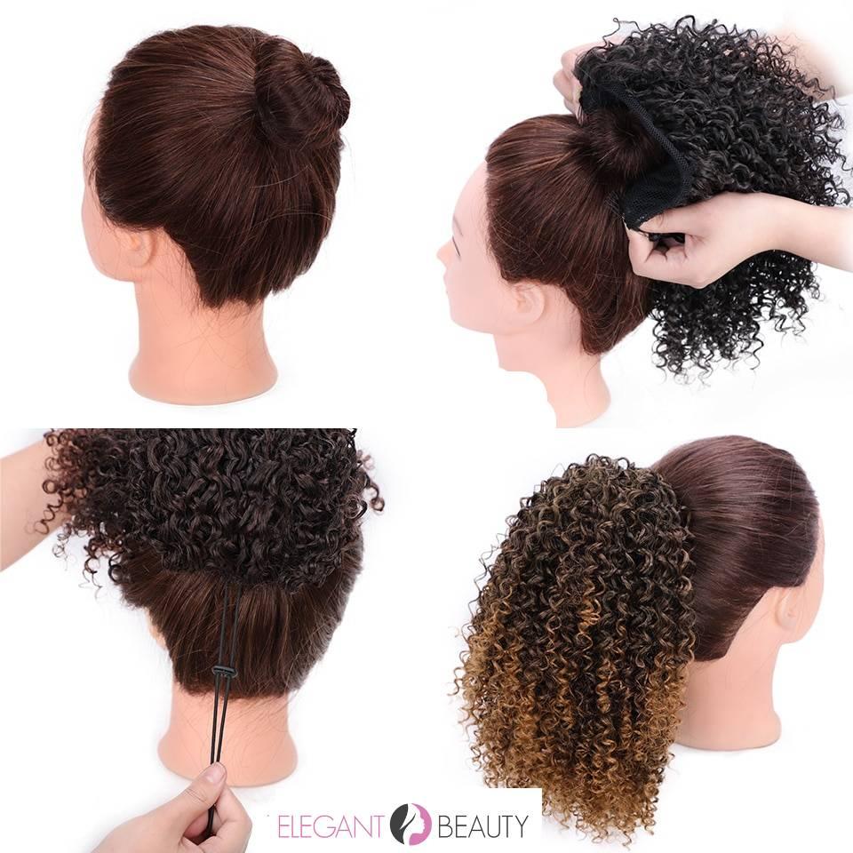 Aisibeauty afro kinky encaracolado extensão do cabelo cordão puff rabo de cavalo sintético clipe na cauda do pônei africano americano extensão do cabelo