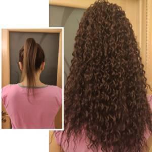 Rabo de cavalo encaracolado 46 cm 120 gramas cabelo orgânico alta qualidade